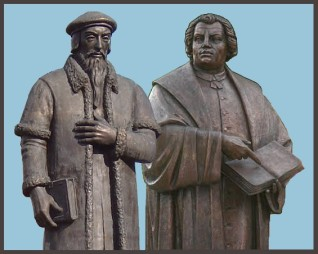 Image result for luther and calvin with the bible