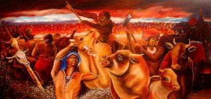 Andrew Nhlangwini from the series 'The prophecy of the Cattle Killing of 1856/7 known as the Ibali lika Nongqawuse' oil on canvas